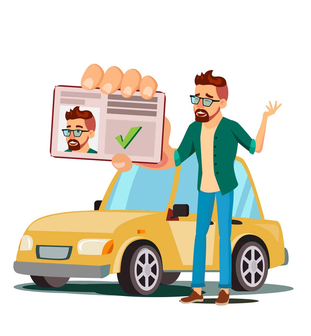 Man In Driving School Vector. Training Car. Successful Pass Exam. Learning To Drive. Driving License. Isolated Flat Illustration